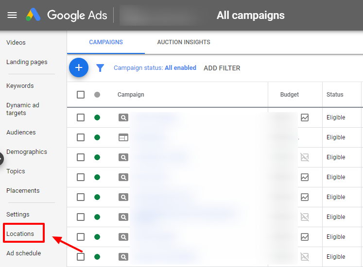 go to google ads campaign locations