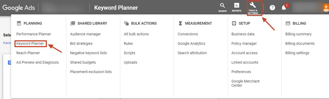 keyword planner google ads new ui