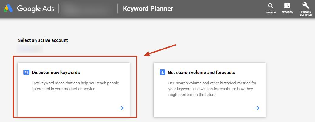 new keyword ideas google ads keyword planner