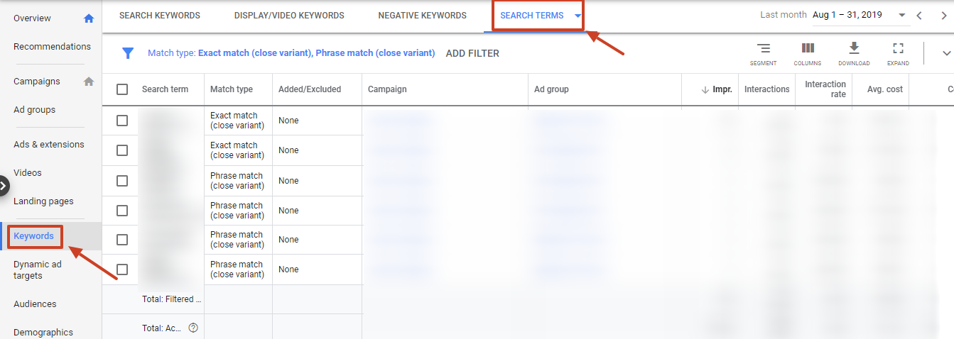 search terms new google ads ui