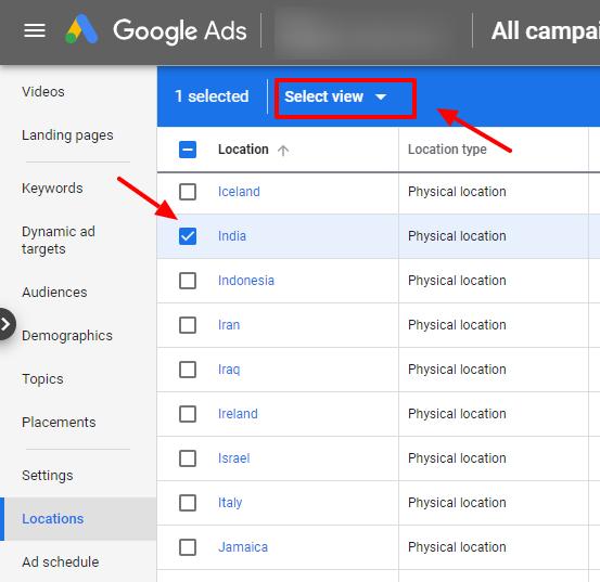 select location google ads