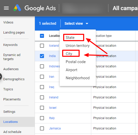 select state or city google ads