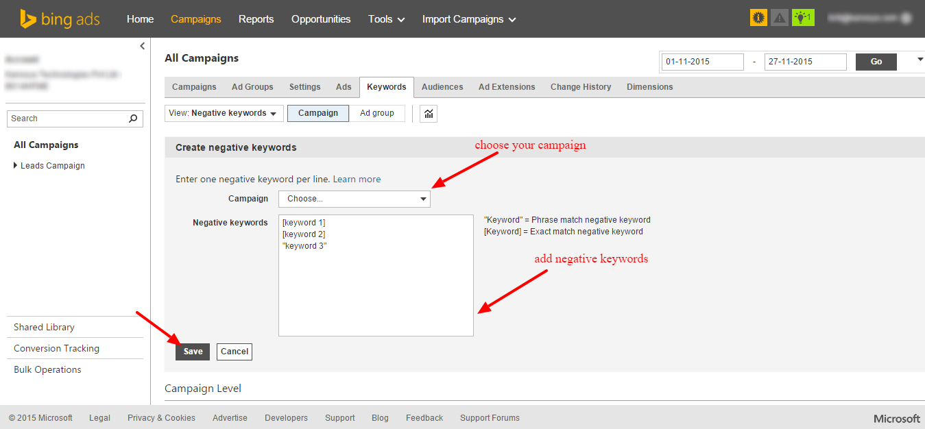 Add Negative Keyword In Bing - Step 4