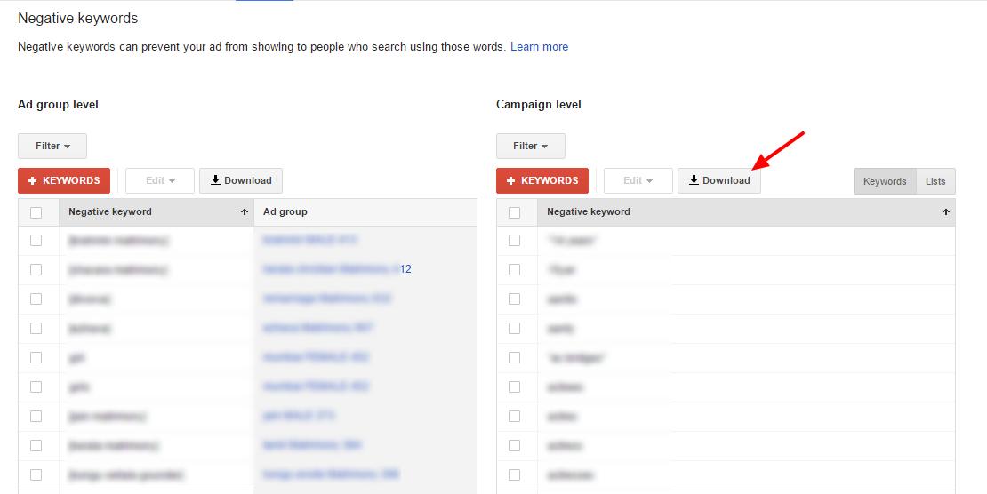 download negative keywords