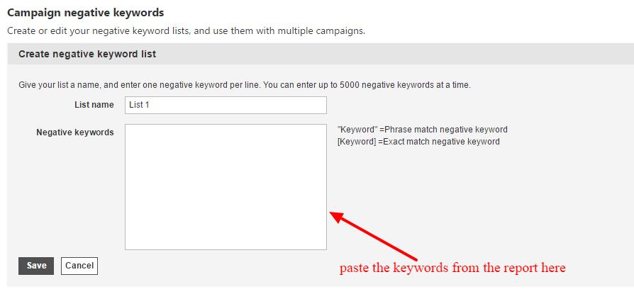 paste negative keywords