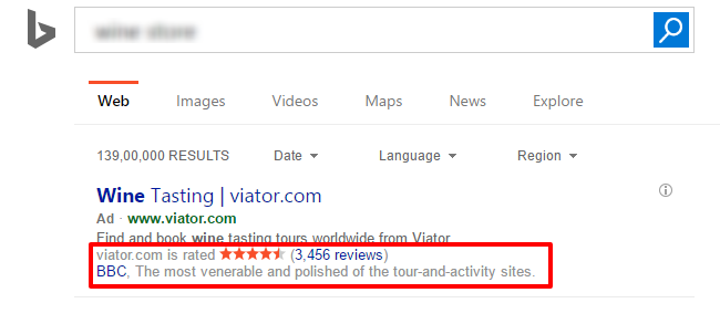 bing review ad extensions