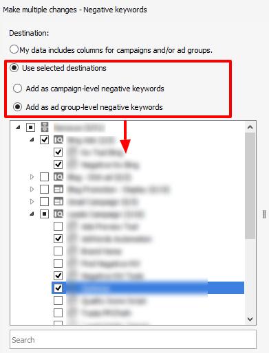 manually select campaigns