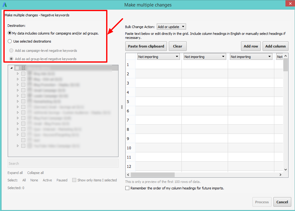 multiple changes adwords editor