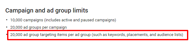 adwords account limits