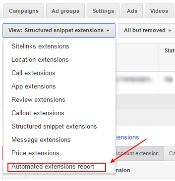 automated extensions report adwords