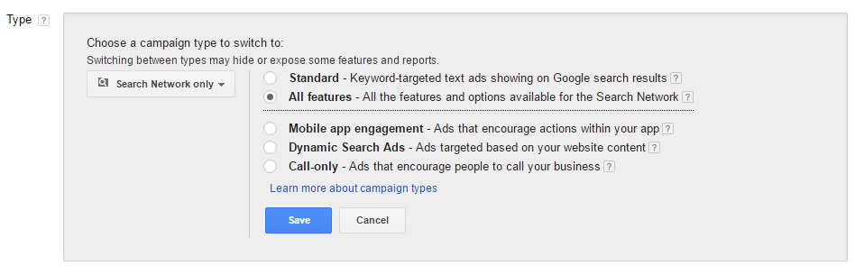 campaign features adwords