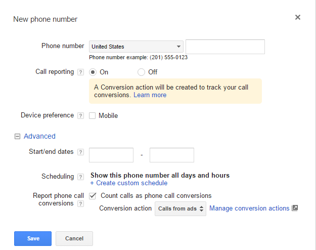 call tracking adwords