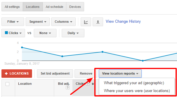 location report adwords