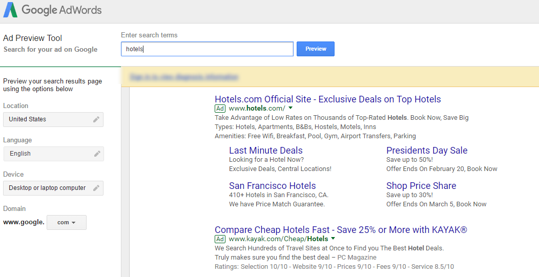 ad preview tool adwords