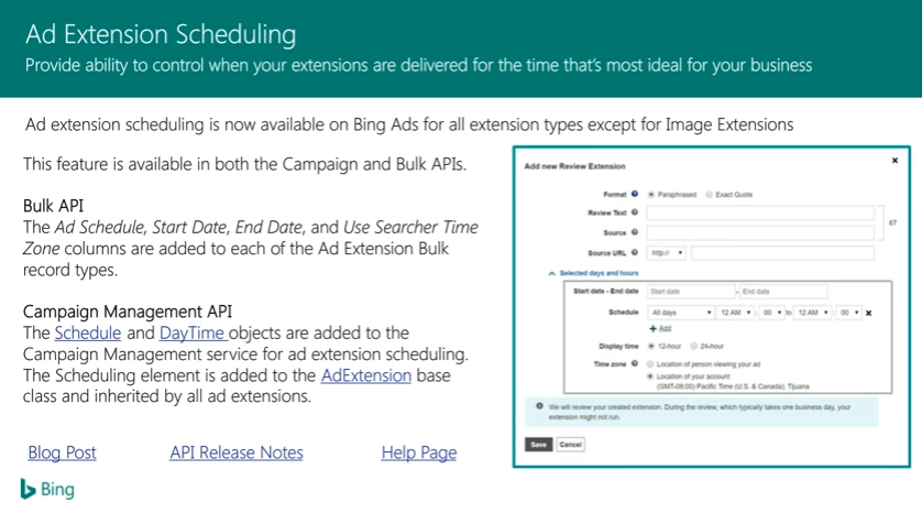 Bing Ads Ad Extension Scheduling
