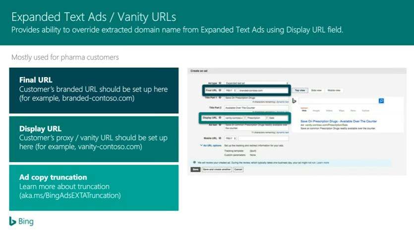 Bing Ads Vanity URLs