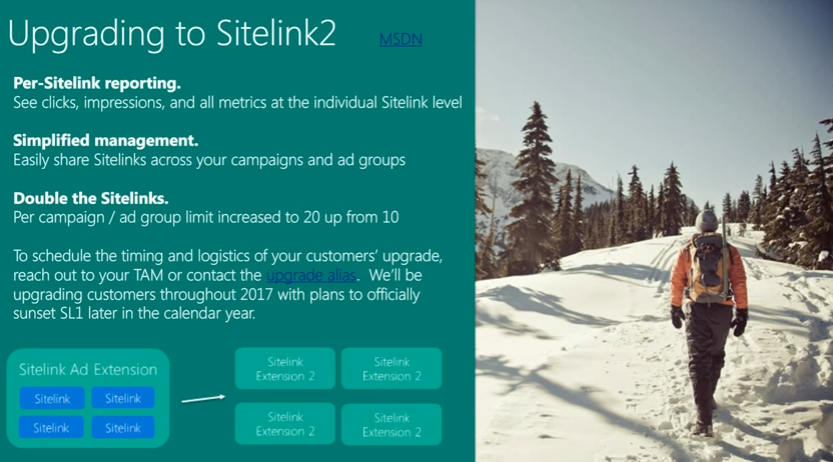 Bing Ads upgrading sitelink extension