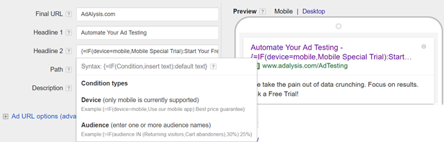 adwords if default ads