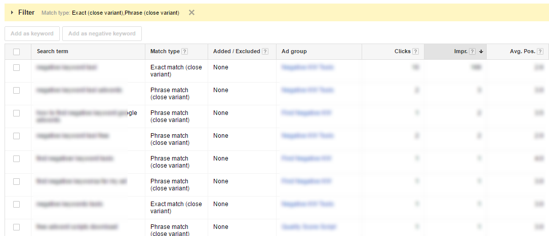 close variants search terms adwords