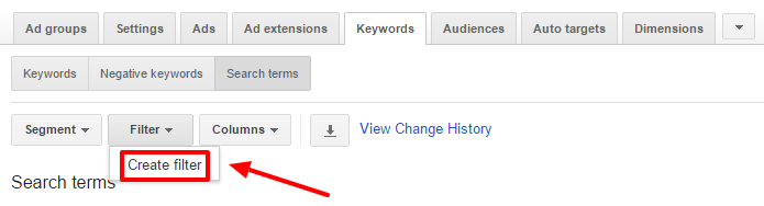 create filter adwords