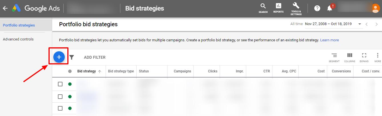 create new portfolio bidding google ads