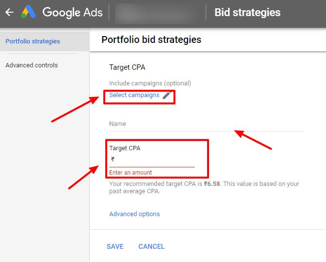enter portfolio bid details google ads
