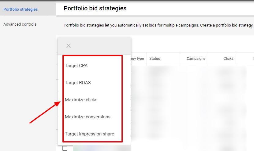 select portfolio bid strategy google ads