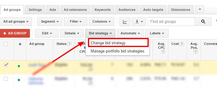 change bid strategy adwords