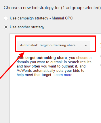 choose target outranking share bid strategy