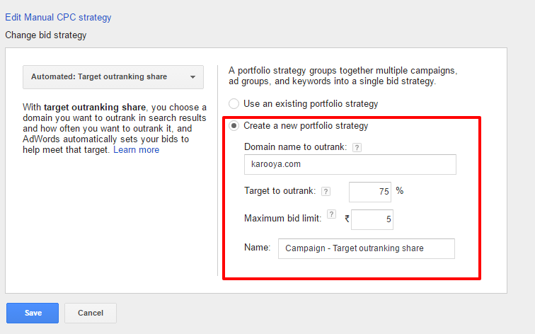 outranking share details adwords