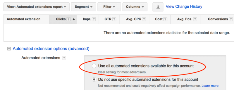 automated extension adwords