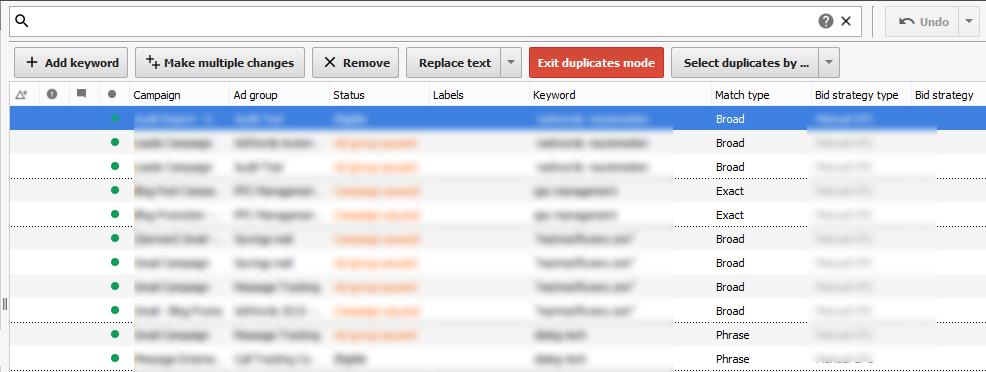 duplicate keywords list