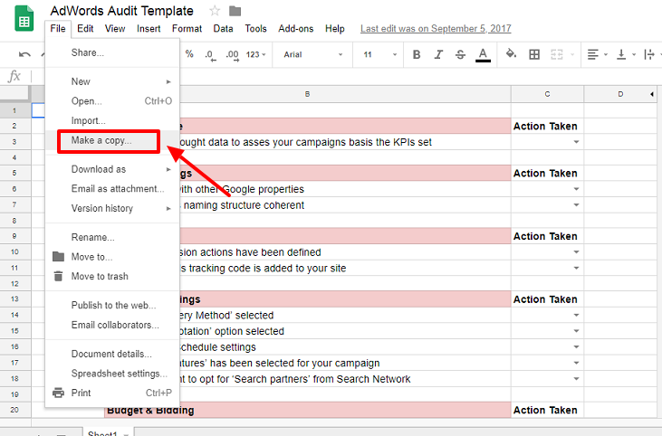 adwords audit template - make a copy