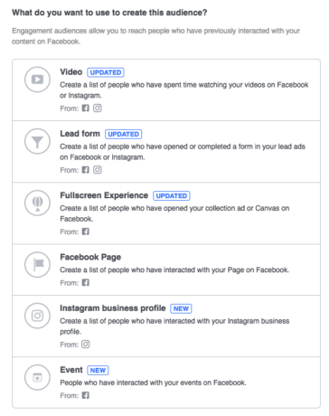 facebook audience list