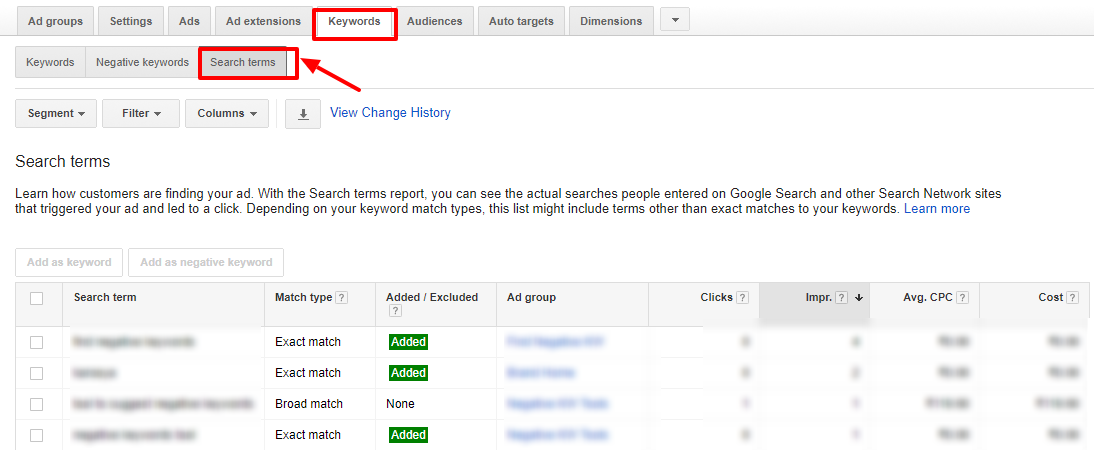 search terms report adwords