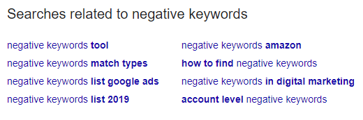 Searches Related to negative keywords