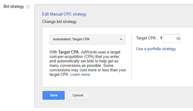 target cpa bidding adwords