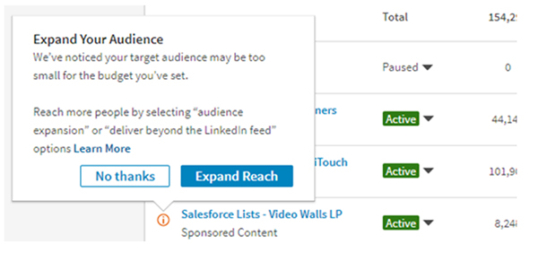 campaign recommendations linkedin
