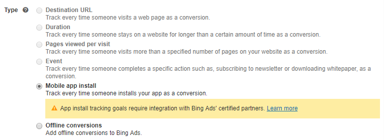 Bing Ads Conversion Goal Types