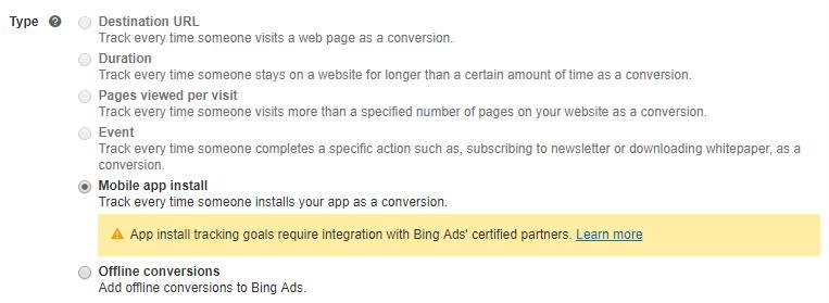 Bing Ads Conversion Goal Types