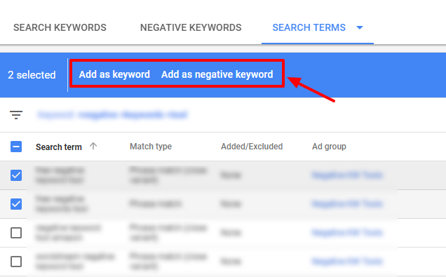 add or exclude search terms adwords