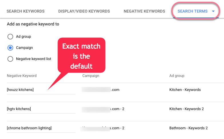 adding negative keywords - exact match