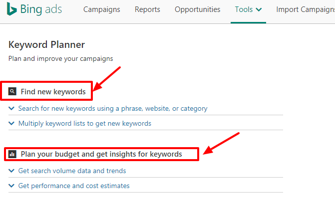 using bing ads keyword planner to find search volume data karooya API Keyword Planner bing keyword planner tool options