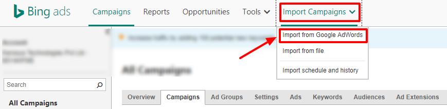 Bing Ads - import from AdWords