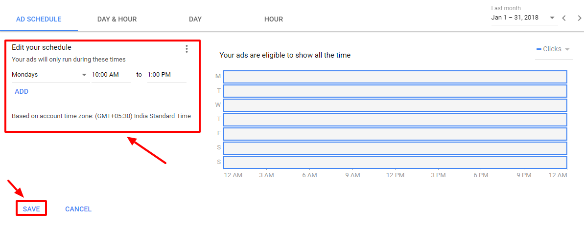 add ad schedule details - new adwords ui