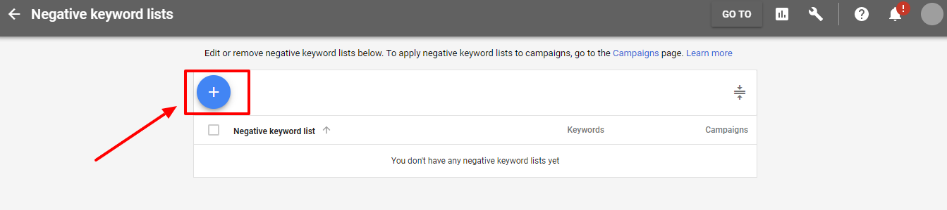add new negative keyword list - new adwords ui
