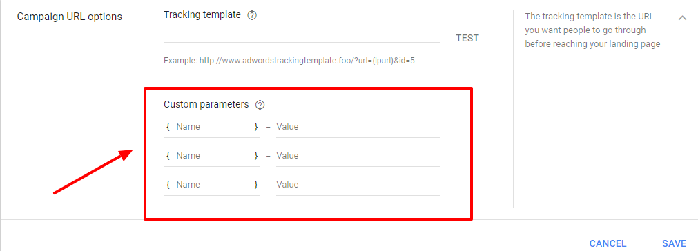adwords campaign custom parameters