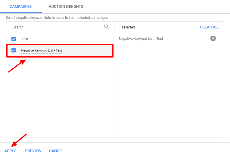 apply negative keyword list - new adwords ui