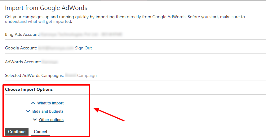 details of import from Google AdWords