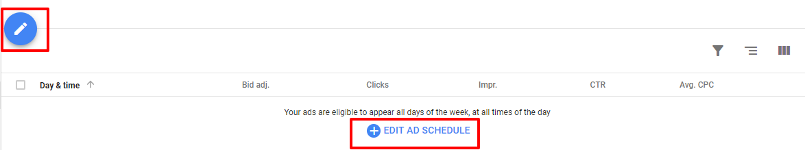 edit ad schedule - new adwords ui